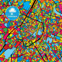 Brussels Belgium Colorful Map