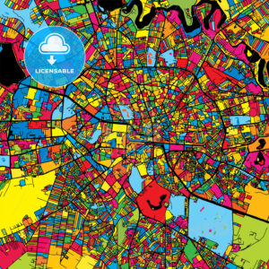Bucharest Romania Colorful Map - HEBSTREIT's Sketches