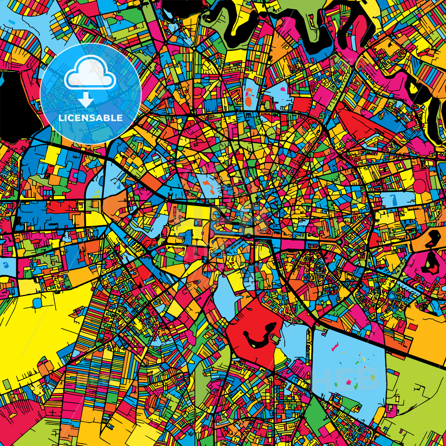 Bucharest Romania Colorful Map - Hebstreits