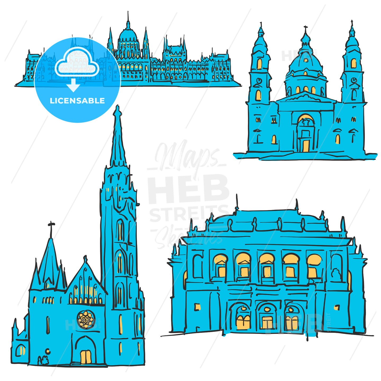Budapest Hungary Colored Landmarks - Hebstreits