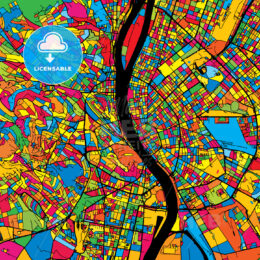 Budapest Hungary Colorful Map