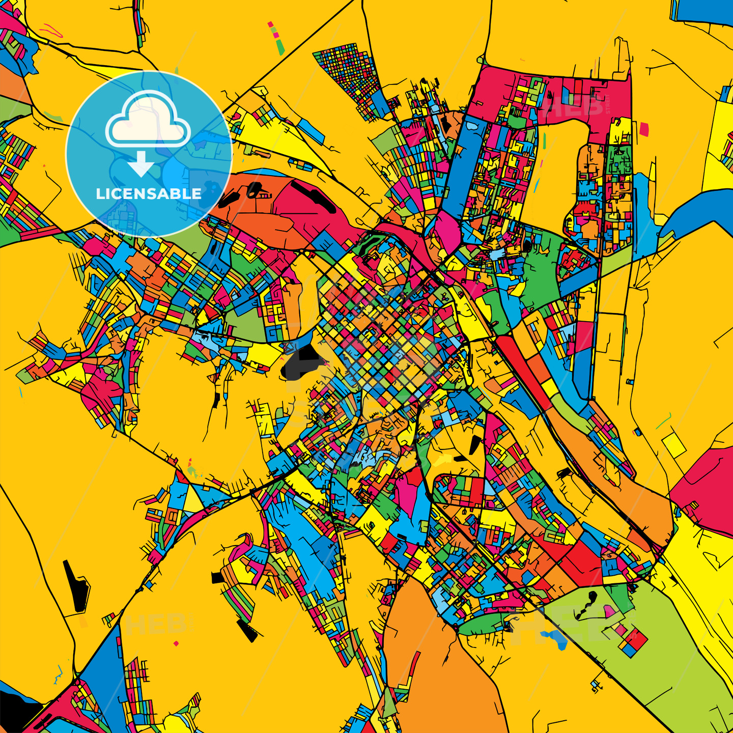 Chisinau Moldova Colorful Map HEBSTREITS