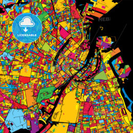 Copenhagen Denmark Colorful Map