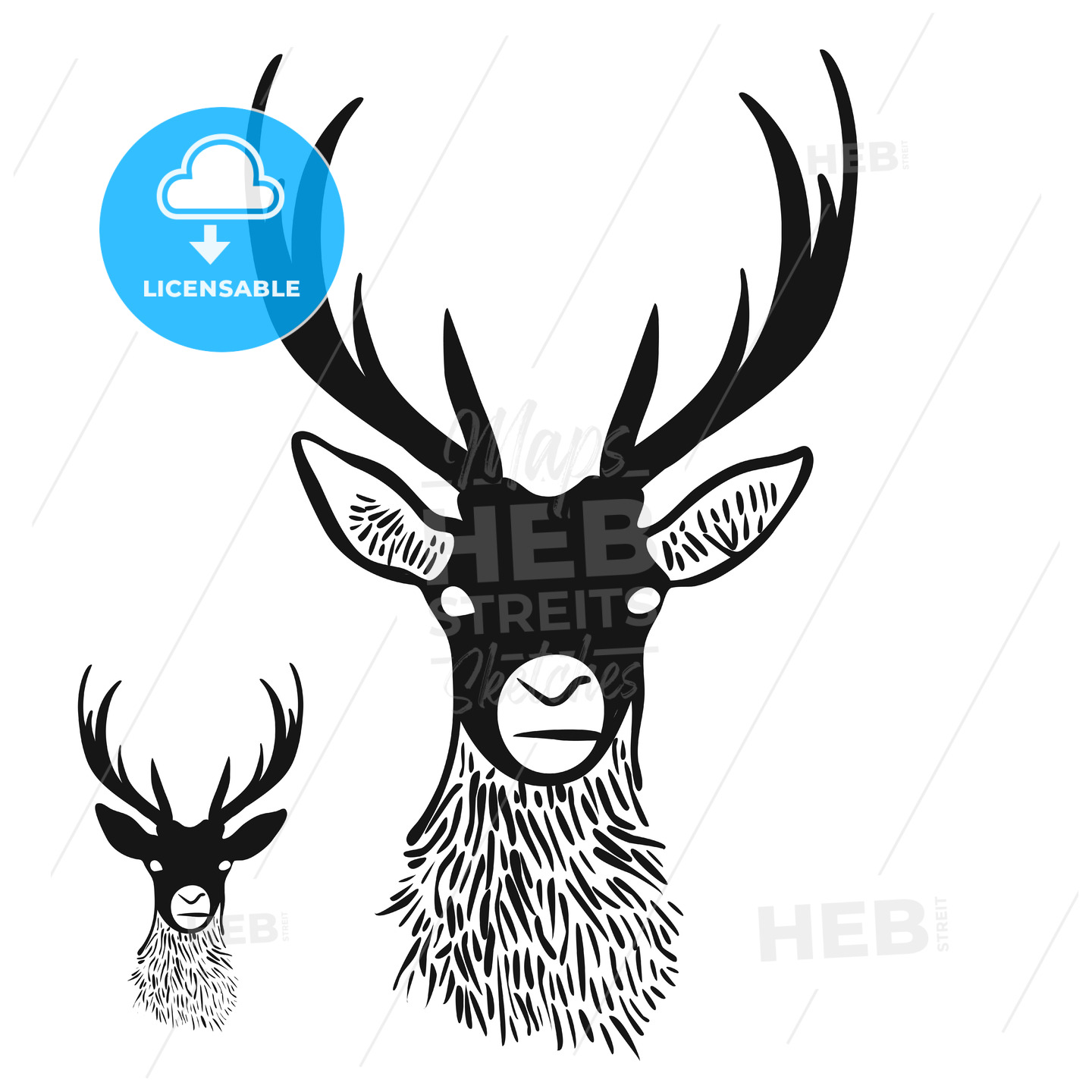 Deer Head Silhouette Hebstreits Sketches
