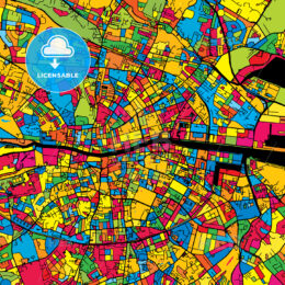 Dublin Ireland Colorful Map