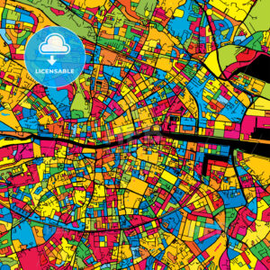 Dublin Ireland Colorful Map - HEBSTREIT's Sketches
