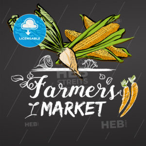 Farmers Market Sketched Banner on Chalkboard - Hebstreits
