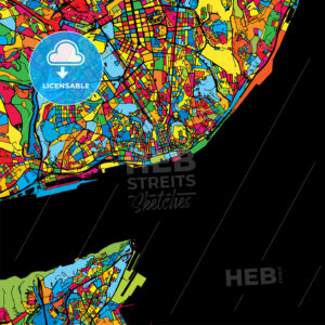 Lisbon Portugal Colorful Map - HEBSTREIT's Sketches