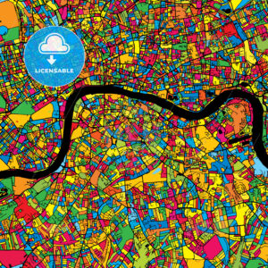 London United Kingdom Colorful Map - HEBSTREIT's Sketches