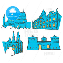 Luxembourg Luxembourg Colored Landmarks