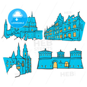 Luxembourg Luxembourg Colored Landmarks - Hebstreits