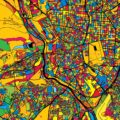 Madrid Spain Colorful Map - Hebstreits