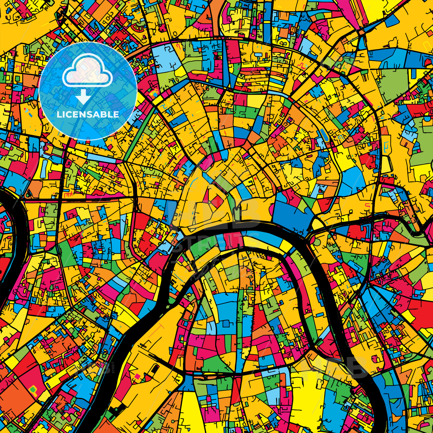 Moscow Russia Colorful Map | HEBSTREITS Sketches