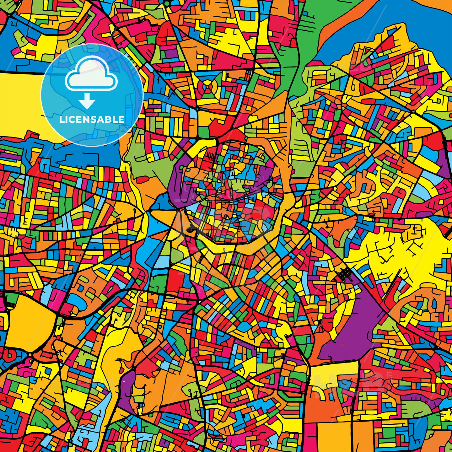 Nicosia Cyprus Colorful Map HEBSTREITs Sketches - nicosia map