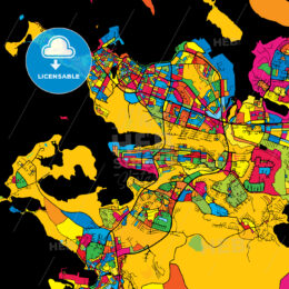 Reykjavik Iceland Colorful Map