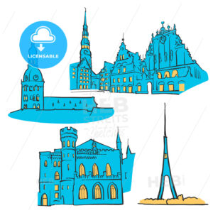 Riga Latvia Colored Landmarks - Hebstreits