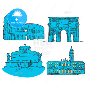 Rome Italy Colored Landmarks - Hebstreits