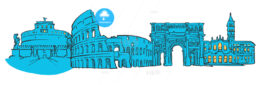 Rome Italy Colored Panorama