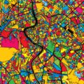 Rome Italy Colorful Map - Hebstreits
