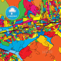 Sarajevo Bosnia and Herzegovina Colorful Map