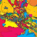 Skopje Macedonia Colorful Map - Hebstreits