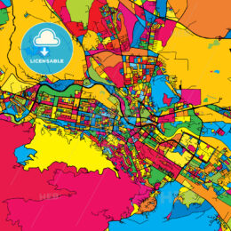 Skopje Macedonia Colorful Map