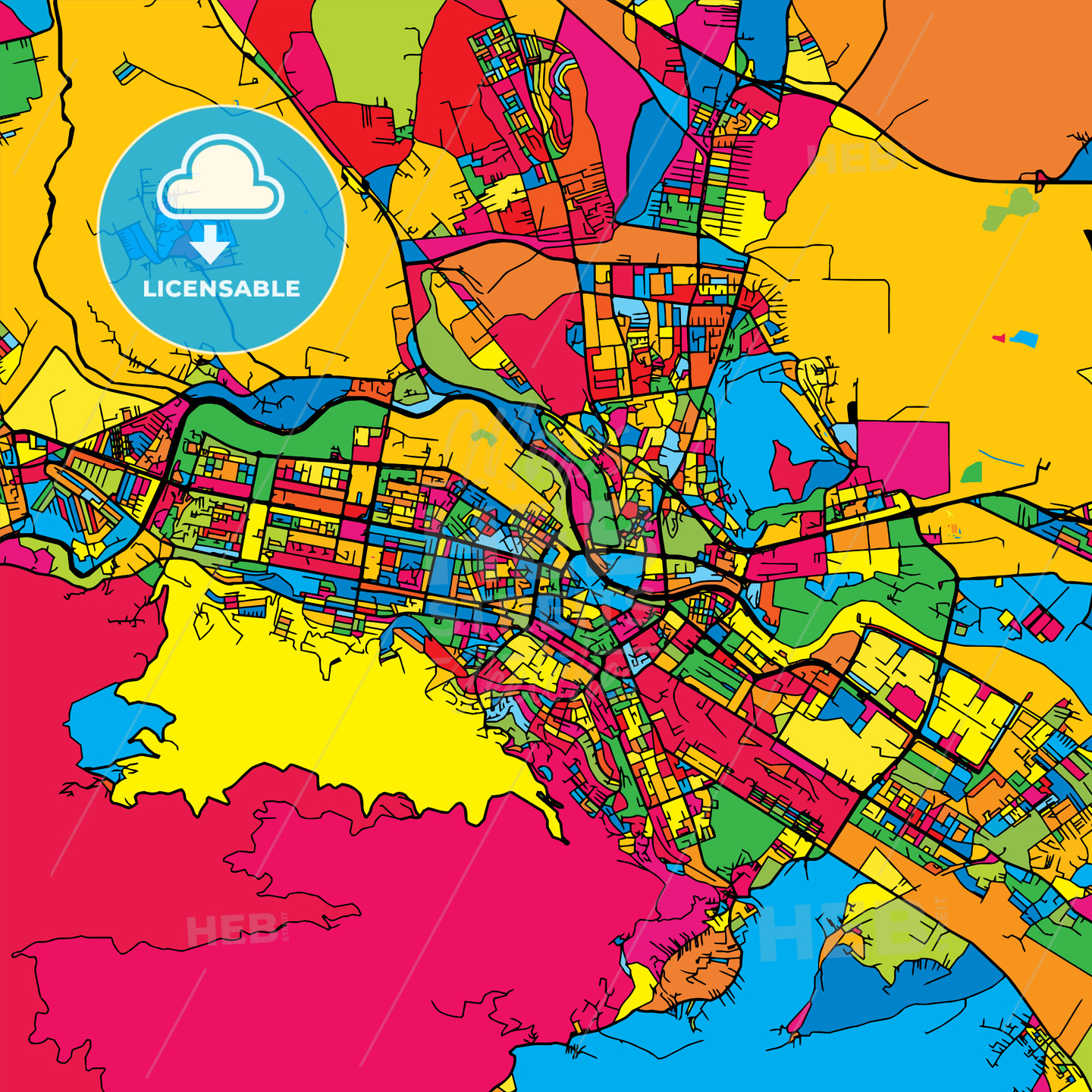 Skopje Macedonia Colorful Map - HEBSTREIT's Sketches