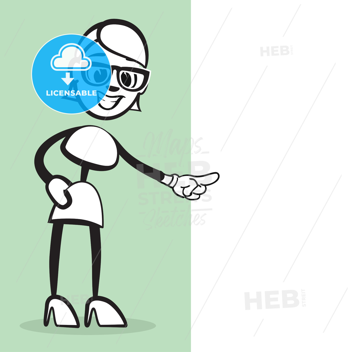 Stickman Emotion Woman pointing - Hebstreits