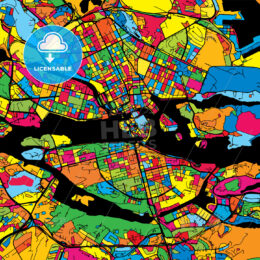 Stockholm Sweden Colorful Map
