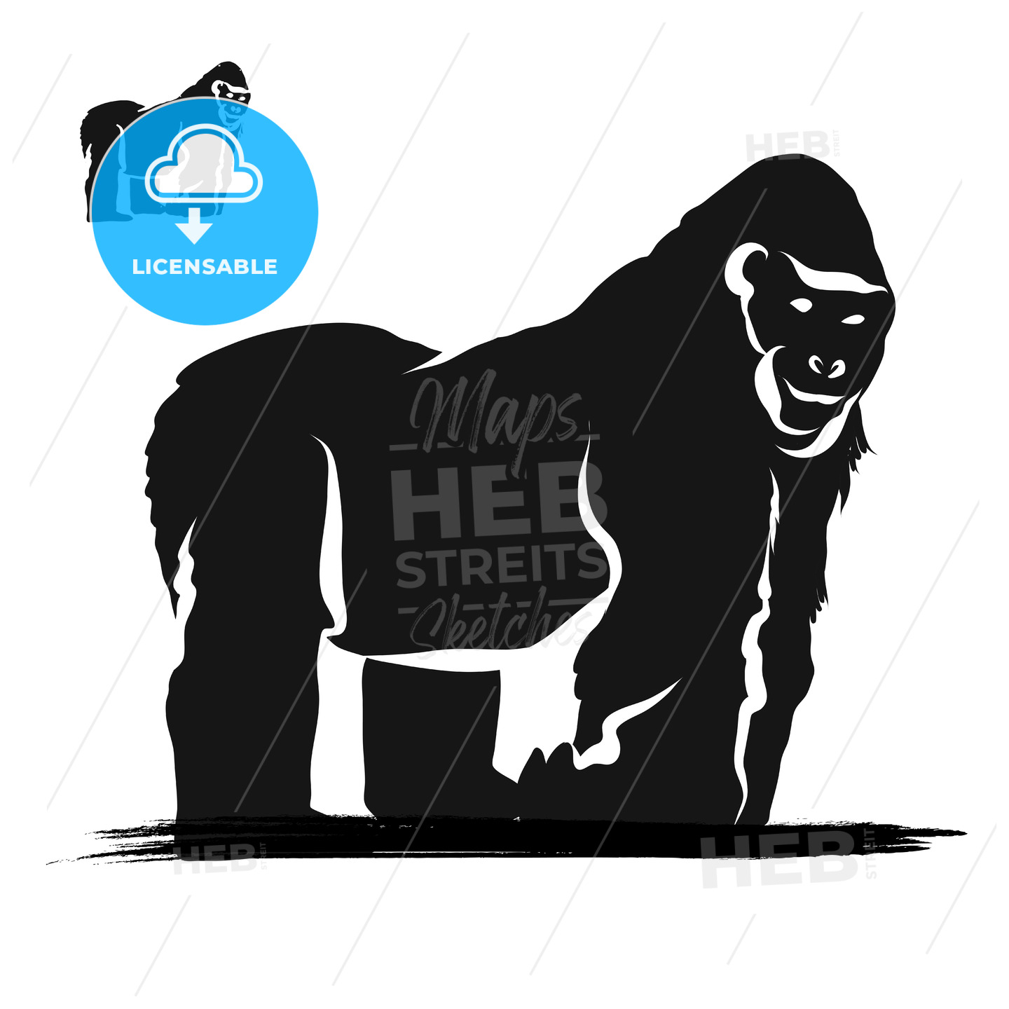 Strong Gorilla Silhouette - Hebstreits
