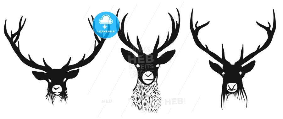 Three deers heads silhouettes - Hebstreits