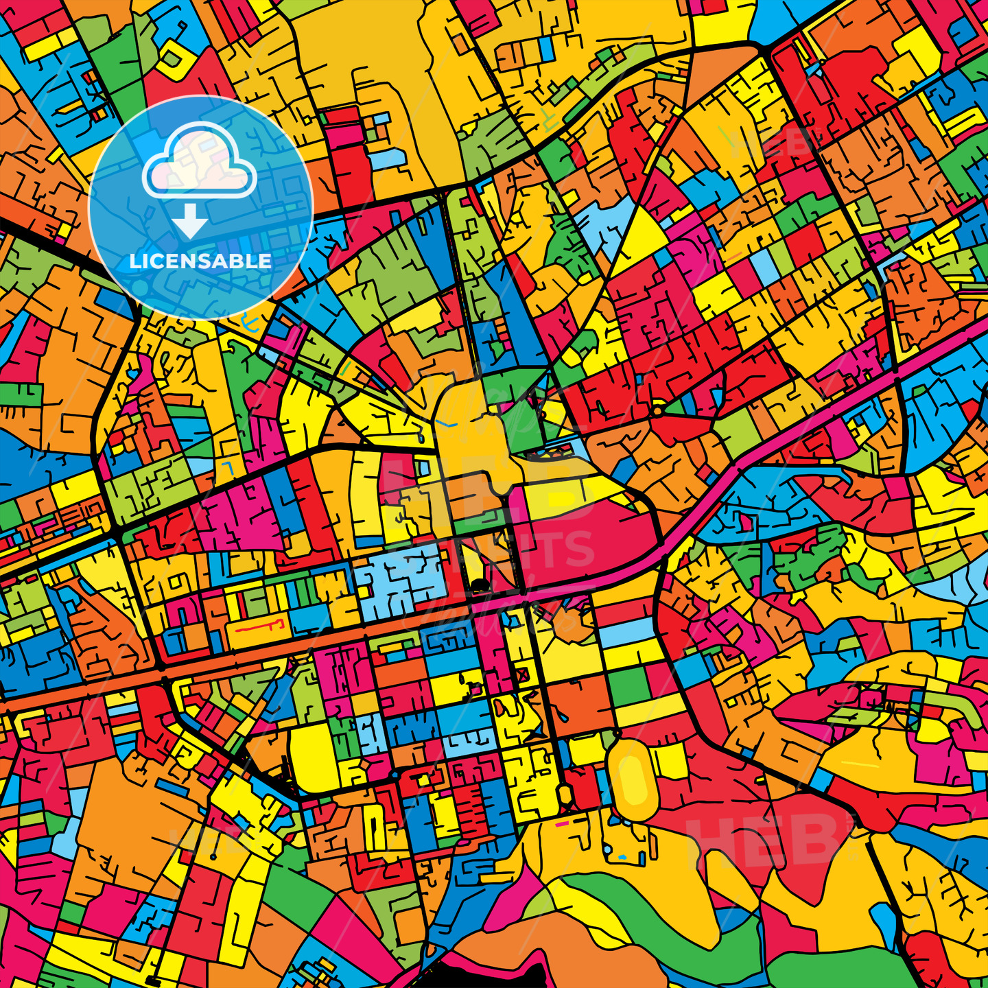 Tirana Albania Colorful Map - HEBSTREIT's Sketches