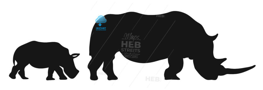 Two Rhinoceroses Silhouettes - Hebstreits