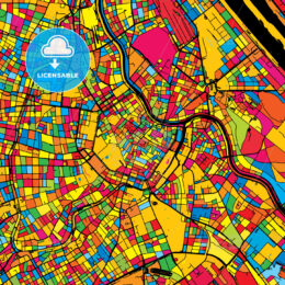 Vienna Austria Colorful Map