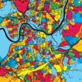 Vilnius Lithuania Colorful Map - Hebstreits