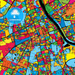 Warsaw Poland Colorful Map