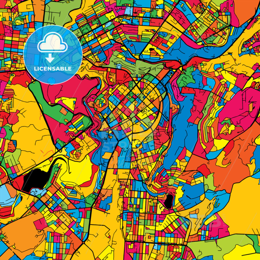 Yerevan Armenia Colorful Map - HEBSTREIT's Sketches