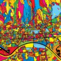 Zagreb Croatia Colorful Map - Hebstreits