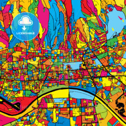 Zagreb Croatia Colorful Map