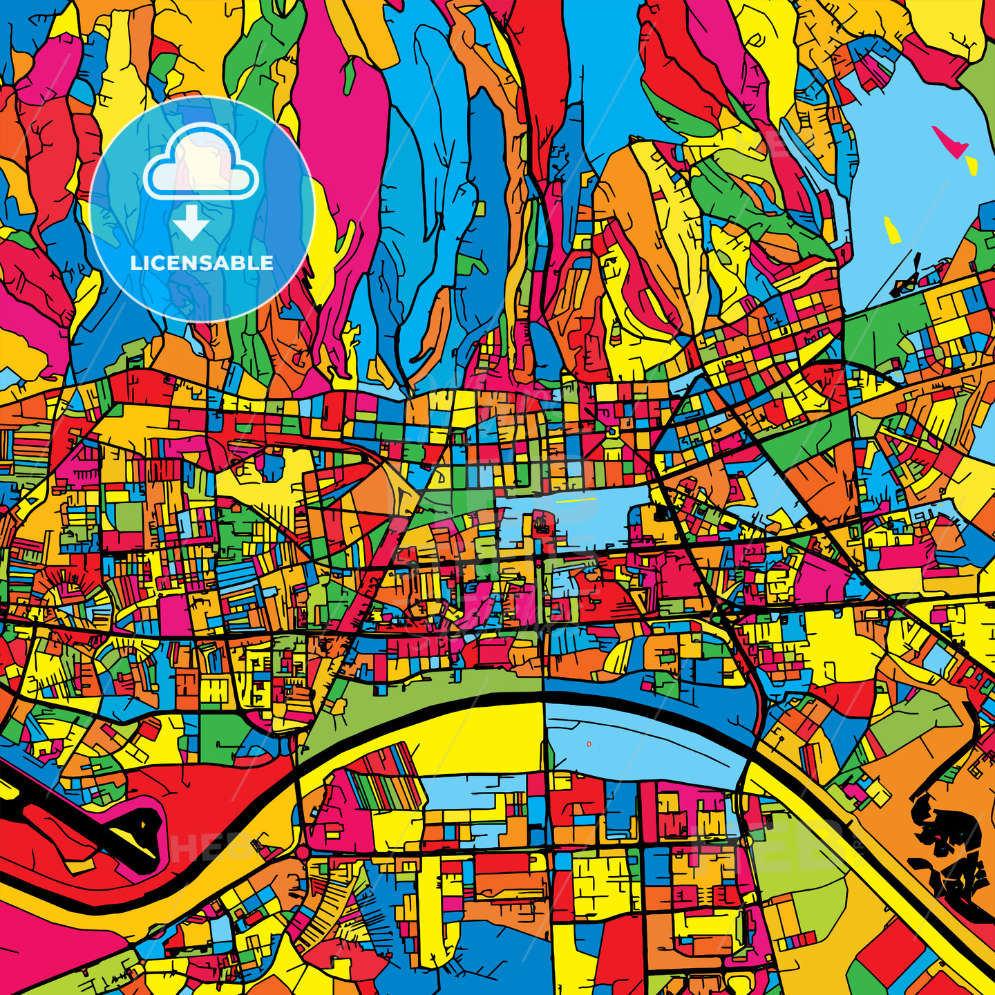 Zagreb Croatia Colorful Map - HEBSTREIT's Sketches