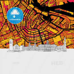 Amsterdam, Netherlands, Skyline Map