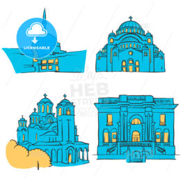 Belgrade, Serbia, Colored Landmarks