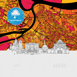 Belgrade Skyline Map