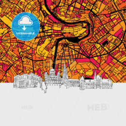 Bern Skyline Map
