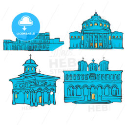 Bucharest, Romania, Colored Landmarks