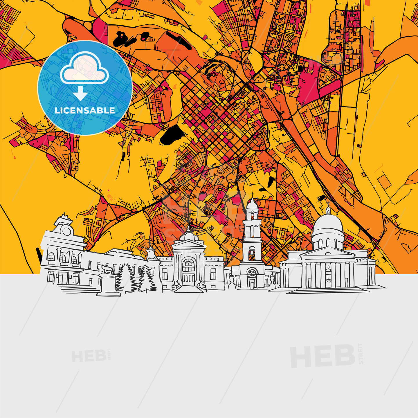 Chisinau Moldova Skyline Map HEBSTREITS