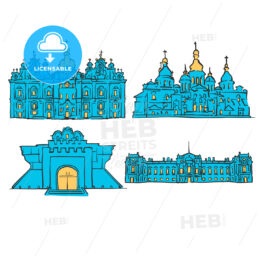 Kyiv, Ukraine, Colored Landmarks