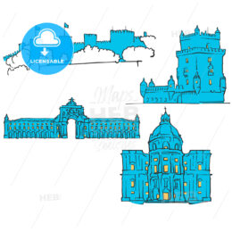 Lisbon, Portugal, Colored Landmarks
