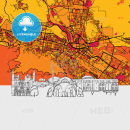 Skopje, Macedonia, Skyline Map