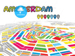 Amsterdam, Netherlands, downtown map in perspective